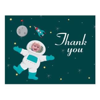 Space astronaut birthday photo thank you postcard