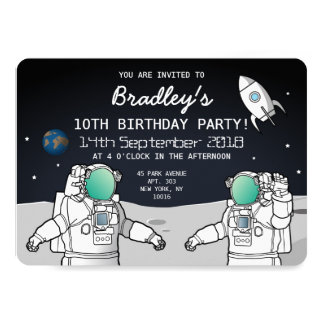 SPACE ASTRONAUT ROCKET BIRTHDAY PARTY 13 CM X 18 CM INVITATION CARD