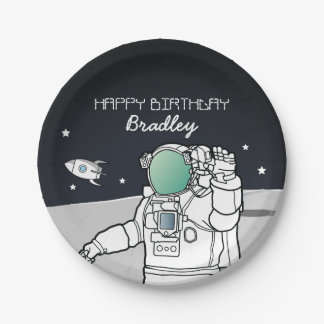 SPACE ASTRONAUT ROCKET BIRTHDAY PARTY PAPER PLATE