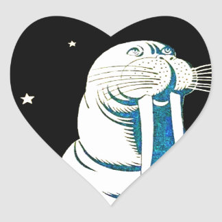 Space Astronaut Walrus Heart Sticker