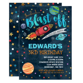 Space Birthday Invitation Outer Space Party