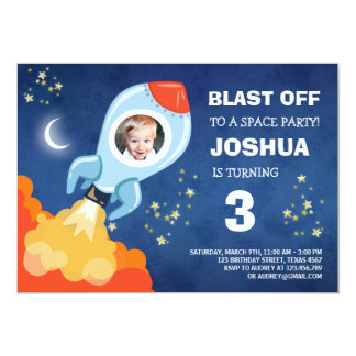 Space birthday invitation Rocket Ship Astronaut