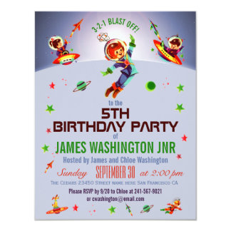 Space Boy's 5th Birthday Party 11 Cm X 14 Cm Invitation Card