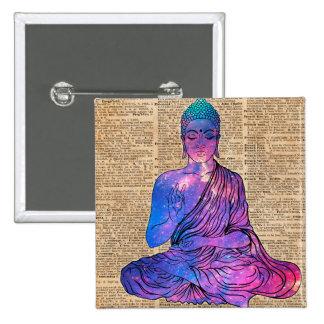 Space Buddha Vintage Dictionary Art 15 Cm Square Badge