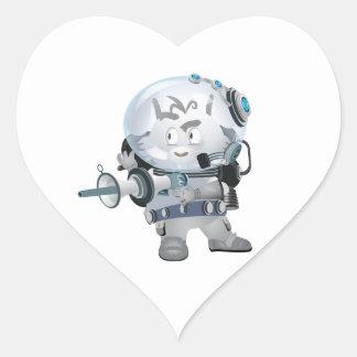 Space Bunny Heart Sticker