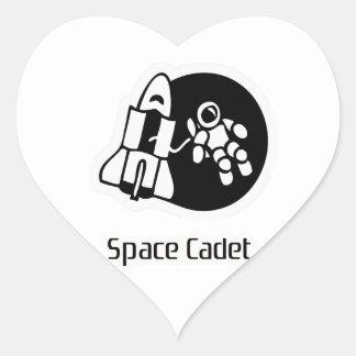 Space Cadet Motif Heart Sticker