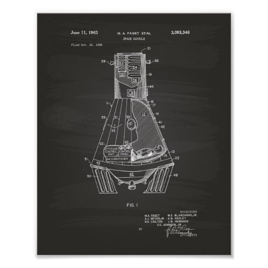 Space Capsule 1963 Patent Art Chalkboard Poster