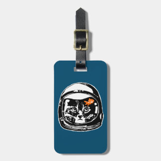 Space cat and the goldfish luggage tag