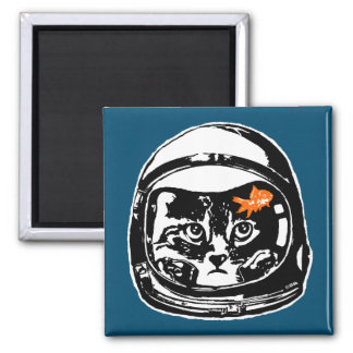 Space cat and the goldfish square magnet