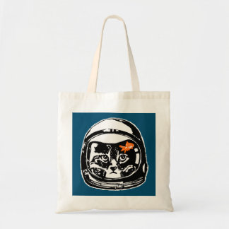 Space cat and the goldfish tote bag