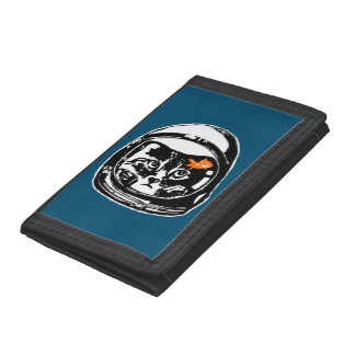Space cat and the goldfish trifold wallets