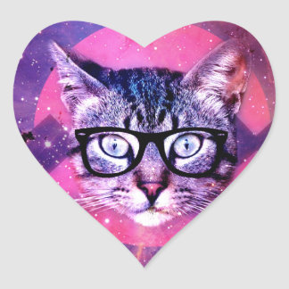 Space Cat Heart Sticker