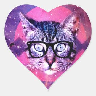 Space Cat Heart Sticker