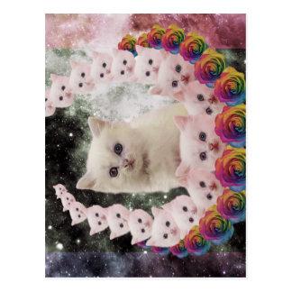 space cat in flowers postcard