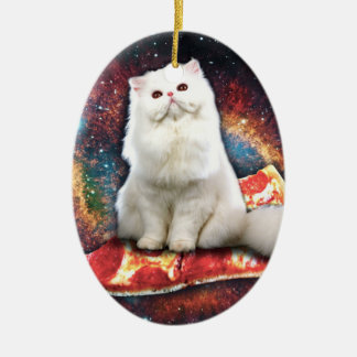 Space cat pizza christmas ornament