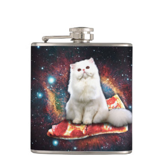Space cat pizza hip flask