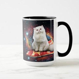 Space cat pizza mug