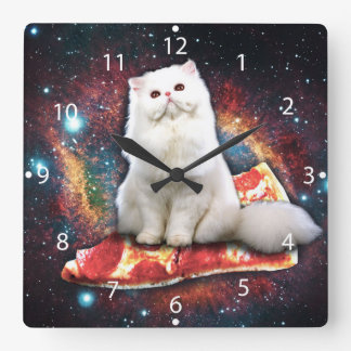 Space cat pizza square wall clock