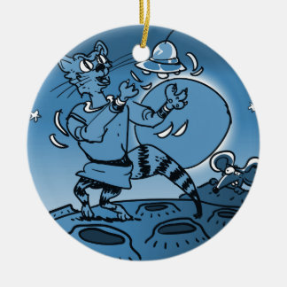 space cat playing with ufo funny cartoon christmas ornament