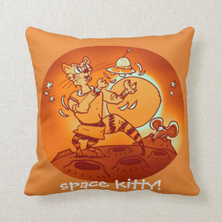 space cat playing with ufo funny cartoon cushion
