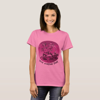 space cat playing with ufo funny cartoon T-Shirt