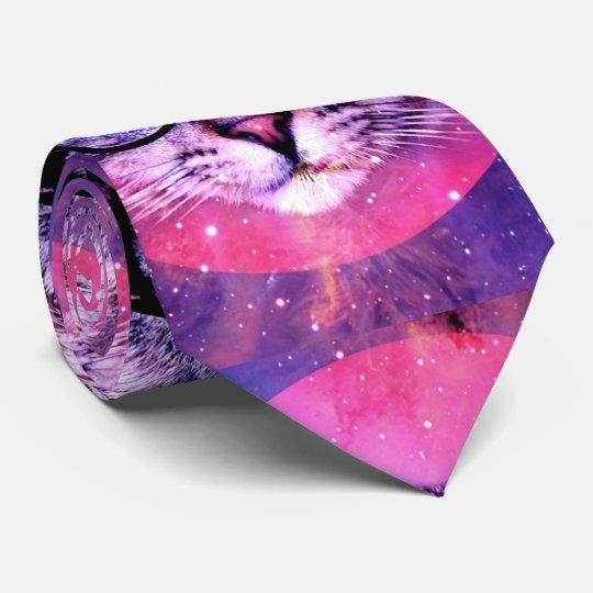 Space Cat Purple Galaxy Trending 2016 Customised Tie
