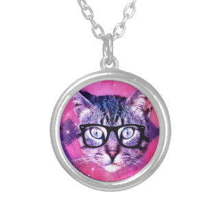 Space Cat Silver Plated Necklace