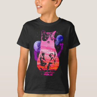 Space Cat with Planets T-Shirt