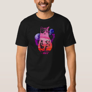Space Cat with Planets Tshirts