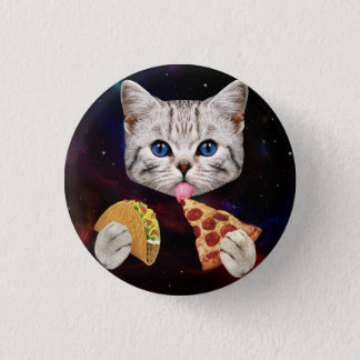 Space Cat with taco and pizza 3 Cm Round Badge