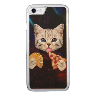 Space Cat with taco and pizza Carved iPhone 8/7 Case