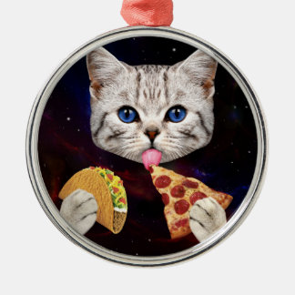 Space Cat with taco and pizza Christmas Ornament