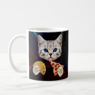 Space Cat with taco and pizza Coffee Mug