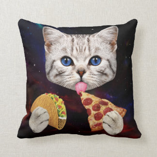 Space Cat with taco and pizza Cushion
