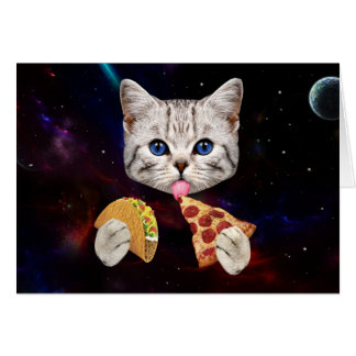 Space Cat with taco and pizza Greeting Card