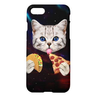 Space Cat with taco and pizza iPhone 8/7 Case
