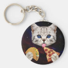Space Cat with taco and pizza Key Ring