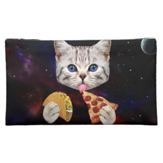 Space Cat with taco and pizza Makeup Bag