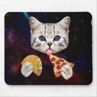 Space Cat with taco and pizza Mouse Mat
