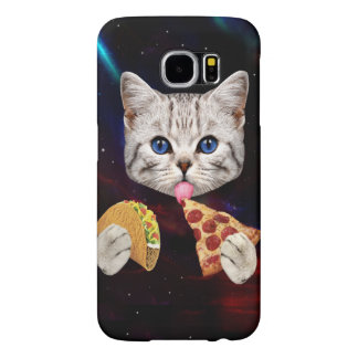 Space Cat with taco and pizza Samsung Galaxy S6 Cases