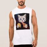 Space Cat with taco and pizza Sleeveless Tee