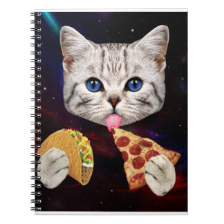 Space Cat with taco and pizza Spiral Notebooks