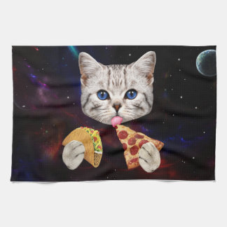 Space Cat with taco and pizza Tea Towel