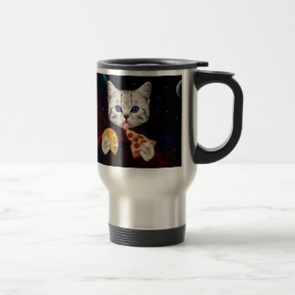 Space Cat with taco and pizza Travel Mug