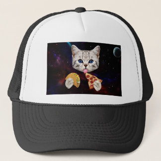 Space Cat with taco and pizza Trucker Hat