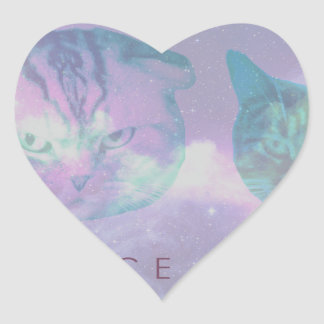 Space Cats Heart Sticker