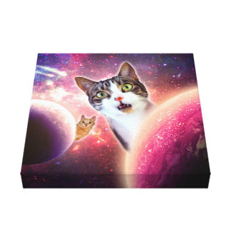 """Space Cats"" LOL Canvas Wall Art 12"" x 12"", 1.5"" Gallery Wrapped Canvas"