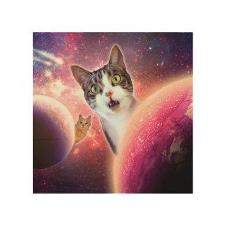 """Space Cats"" LOL Funny 8""x8"" Wood Wall Art Wood Prints"