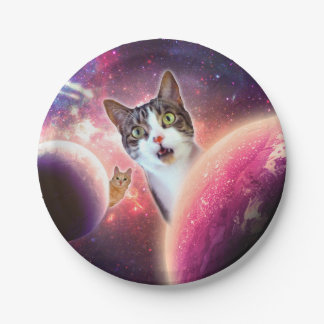 """Space Cats LOL Funny Custom Paper Plates 7"""" 7 Inch Paper Plate"""