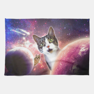 Space Cats LOL Funny Tea Towel